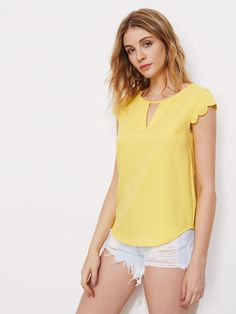 Shop V Notch Front Scallop Cap Sleeve Dolphin Hem Top online. SheIn offers V Notch Front Scallop Cap Sleeve Dolphin Hem Top & more to fit your fashionable needs. Shell Tops, Mode Chic, Yellow Fashion, Tie Blouse, V Cuts, Blouse Online, Summer Shirts, Cap Sleeves, Blouses For Women