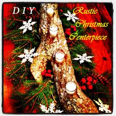 DIYChristmas Log Centerpiece Log Centerpieces, Christmas Centerpieces, Christmas Log, Christmas Ornaments, Diy And Crafts, Arts And Crafts, Christmas Traditions, Craft Projects, Crafty