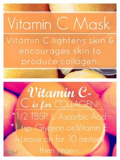 Vitamin C mask TBSP L. Ascorbic Acid (find it HERE) 1 tsp. Glycerin (find it HERE)(or 2 Vitamin E capsules) Mix the first 2 ingredients. Apply a THIN LAYER to a clean face and throat. Vitamin A, Vitamin C Mask, Vitamin E Capsules, Vitamin C For Face, Diy Skin Care, Skin Care Tips, Skin Peeling On Face, Lighten Skin, Skin Care Regimen