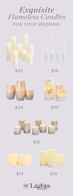 Exquisite flameless candles for your wedding.