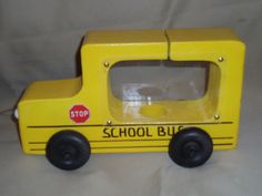 School Bus Wooden piggy bank by Andersonwoodworks on Etsy, $20.00