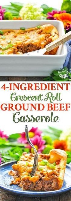 This 4-Ingredient Crescent Roll Ground Beef Casserole comes together in just minutes for an easy dinner recipe! Ground Beef Recipes | 5 Ingredients or Less Recipes #beef #groundbeef #dinner #5ingredients #foodmadesimple