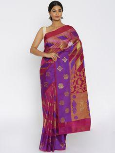 Buy Bunkar Magenta Supernet Banarasi Traditional Saree -  - Apparel for Women from Bunkar at Rs. 2049