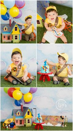 Pixar's UP Cake Smash | First Birthday Session | Christy & Co. Photography Boys First Birthday Cake, 1 Year Old Birthday Party, Boys 1st Birthday Party Ideas, Baby Boy Birthday, First Birthday Photos, Birthday Pictures, Birthday Gifts, Twins 1st Birthdays, Foto Baby
