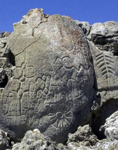 ( - p.mc.n. ) This is the oldest rock art in North America. The Winnemucca petroglyph is between 10,500 to 14,800 years old!
