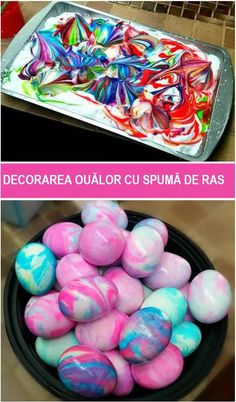 Shaving Cream Dyed Easter Eggs- fun easter egg decorating idea for kids! Unique way to decorate eggs with kids. Shaving Cream Easter Eggs, Easter Egg Dye, Hoppy Easter, Easter Food, Easter Bunny, Easter Decor, Easter Stuff, Easter Table, Easter Centerpiece