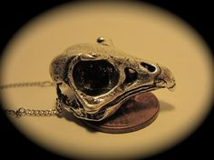 "Silver Falcon Skull Necklace (Antique Silver Plate) 24"" chain, made in NYC quantity listing"