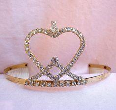 Vintage tiara gold tone rhinestone designer by ElrondsEmporium