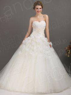 ウェディングドレス ローウェスト プリンセスライン アイボリー チュール 小花 ハートネック B12187
