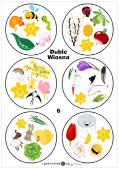 Duble - wiosna - Printoteka.pl Activities For Kids, Crafts For Kids, Kindergarten, Activity Box, Play To Learn, Cool Kids, Little Ones, Easter, Teaching