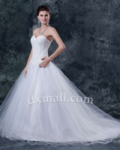 A-line Wedding Dresses Sweetheart Court Train Organza Satin Ivory 01001010057