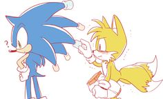 "Sonic: ""Wait...what are you doing?"" Tails: ""Hehehe"""