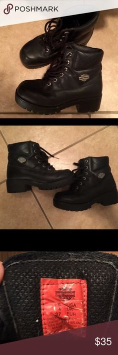 Ladies Size 6 Harley Davidson Boots Almost New Condition Shoes Lace Up Boots
