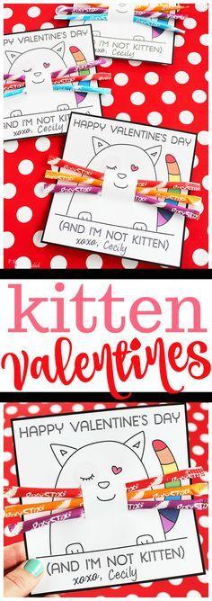 Printable kitten valentine cards for kids made with Pixy Stix #valentinecard #kidsvalentinecard #valentineprintable #valentinesday
