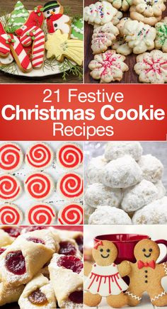 21 Festive Christmas Cookie Recipes including Spritz Cookies, Sugar Cookies, Meringue, Pinwheel Swirls, Gingerbread Men, Nutella, Candy Cane, Mint Oreo Truffles, Snowball, White Chocolate Cranberry, Peppermint, Red Velvet, Kolacky, Viennese, and more!