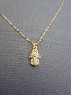 Hamsa necklace, Hamsa Jewelry, Hamsa Hand charm, Rhinestone hamsa evil eye pendant, Meditation, Yoga necklace, Buddhist jewelry.