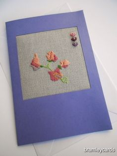 April Birthday Embroidered Sweet Pea Card.  .Easter. Mother's Day £4.00 Dressing Table Mats, Cross Stitch Cards, Blank Cards, Embroidered Flowers, Gift Guide, Greeting Cards, Easter, Sewing, Birthday