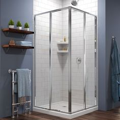 DreamLine Cornerview shower enclosure kit in brilliant chrome with a coordinating shower base in white. The Cornerview provides a modern shower solution with a linear style that works in both classic and contemporary bathroom designs. Additionally, the smart corner installation maximizes space and can fit into virtually any corner – no matter what size bathroom you have! Contact a DreamLine Shower Door Design Consultant at 866-282-8413 Frameless Sliding Shower Doors, Glass Shower Doors, Sliding Panels, Sliding Door, Glass Showers, Small Showers, Bathroom Showers, Shower Base, Shower Floor