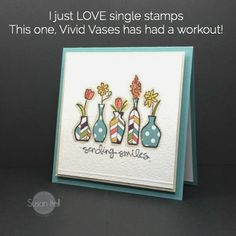 handmade card ... paper pieced vases make a simple layout extra special ... Stampin' Up!