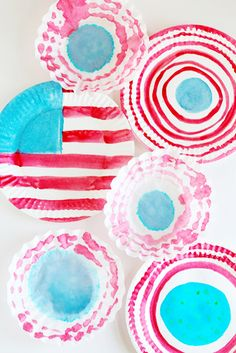Watercolor Painted American Flag Plates // Fourth of July Decorations