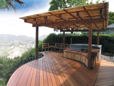 Outdoor covered patio with fireplace, great addition idea. The fireplace also bring a sense of privacy to the covered porch. Covered #Deck #Patio #Backyard #Construction, #ConstructionDetails, #Building, #backyard, #ideas
