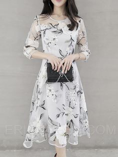 Ericdress Flower Print Expansion Three-Quarter Sleeve Casual Dress 3