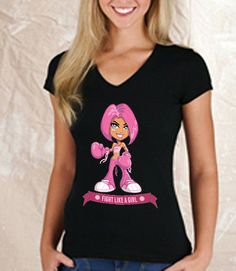 Fight Like A Girl Premium V-Neck Tee  | Glit-Z Jewelry & Apparel - 10% Of Price Donated To Breast Cancer Awareness!