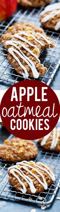 Apple Oatmeal Cookies with Maple Cream Cheese Frosting | Creme de la Crumb