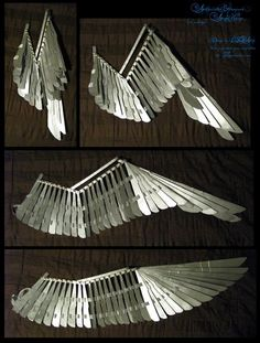 Folding Wing Prototype + video by EuTytoAlba on deviantART Cosplay Wings, Cosplay Diy, Costume Wings, Cosplay Armor, Larp, Bird Wings, Wings Diy, Metal Wings, Cosplay Tutorial