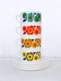 Retro orange cup of coffee