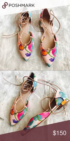 [Stuart Weitzman] Watercolor Lace Up Flats Adorable Watercolors. Pink Blues and Purples. Lace Up. Tie Up Style. Pointed Toe. New/ Never Worn. Stuart Weitzman Shoes Flats & Loafers #stuartweitzmanflats
