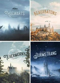 Harry Potter Wizarding Schools: Hogwarts of Scotland, Beauxbatons of France, Durmstrang of Scandinavia, and Ilvermorny of America. Harry Potter World, Memes Do Harry Potter, Magia Harry Potter, Estilo Harry Potter, Arte Do Harry Potter, Yer A Wizard Harry, Harry Potter Universal, Harry Potter Fandom, Harry Potter School