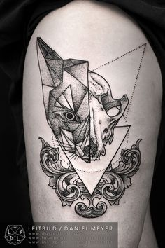 Tattoo - Geometric - Fox - Skull - Animal - triangle - Thigh