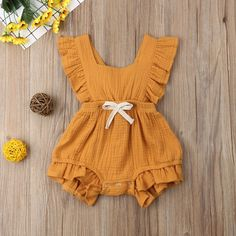 0-2Years,SO-buts Baby Romper Sunflower Infant Newborn Toddler Girls Ruched Romper Summer Jumpsuit Bodysuit Sunsuit Casual Clothes