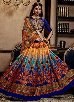 Blue N Orange Art Silk A Line Lehenga Choli