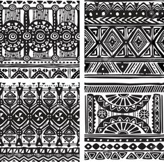 T Shirts Abstract Hand Drawn Ethno Pattern Artistic Tribal Ancient Borders Doodl