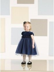 A-line Velvet and Tulle Empire Waistband Bodice Jewel Neckline Flower Girl Dress (JC210370B)