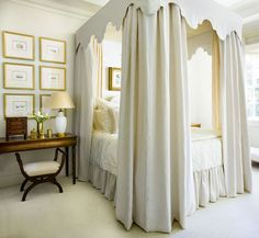 white bed hangings