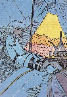 Deima by Moebius (Jean Giraud) Jean Giraud, Art And Illustration, Illustrations, Comic Book Artists, Comic Artist, Comic Books Art, Science Fiction, Edouard Hopper, Moebius Art