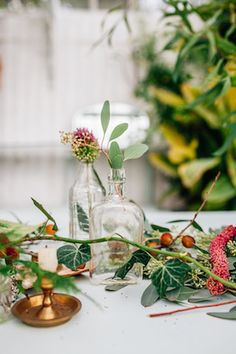 Vintage glassware | Amy Lewin Photography | see more on: http://burnettsboards.com/2015/01/botanical-beauty-greenhouse-wedding-editorial/