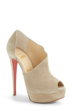 Christian Louboutin | 'Verita' Cutout Platform Peep Toe Bootie in Grey Suede | available at #Nordstrom