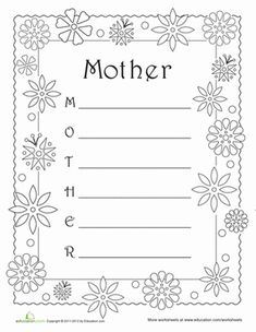 Mother's Day Fourth Grade Composition Poetry Worksheets: Acrostic Poem: