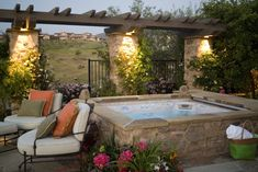 Dream yard with a hot tub and a beautiful, grassy view. This yard really captures nature's beauty. #HotSpringSpas