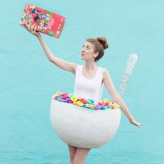 We've got a DIY Cereal Bowl Costume for you today full of Frooty Pebbles! Warning: Sugary cereal cravings may occur. Ha!