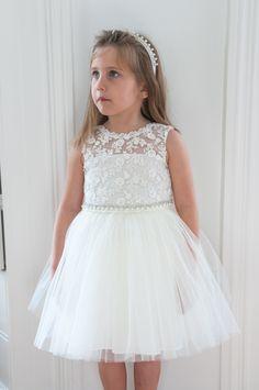 85dd5a11d4a6d David Charles White Embroidered Tulle Dress Girls Designer Dresses