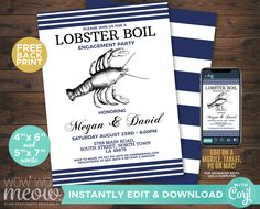 Lobster Boil Engagement Invitations Crawfish Party Invite Couple's Shower DOWNLOAD Seafood Crab Dinner Customize Editable Printable WCWE027 Printing Websites, Printing Services, Online Printing, Engagement Invitations, Party Invitations, Invite, Crawfish Party, Lobster Boil, Event Page