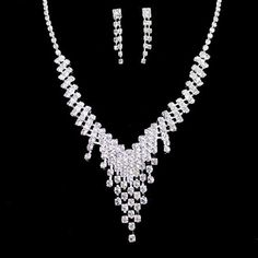 A Suit of Alloy Rhinestoned Tassel Necklace and Earrings #men, #hats, #watches, #belts, #fashion, #style
