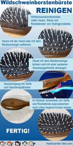 Wildschweinborstenbürste reinigen: Mit der Zeit sammeln sich in jeder Naturhaarbürste jede Menge Haare, Staub und Rückstände von Stylingprodukten. So bekommst du sie wieder sauber! Cleaning Hair Brushes, Best Hair Brush, Hair And Beauty, Home Remedies, Tips And Tricks, Household