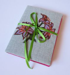 textile padded notebook with embroidered lily by NicolaJDesigns, A5 Notebook Cover, Female Friends, Old Ones, Lining Fabric, Canvas Fabric, Bright Pink, Uni, Lilac, Old Things