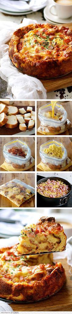 Przepis na pomysłową zapiekankę z czerstwego chleba, bekonu, sera, jajek - Jakie to pomysłowe!!!